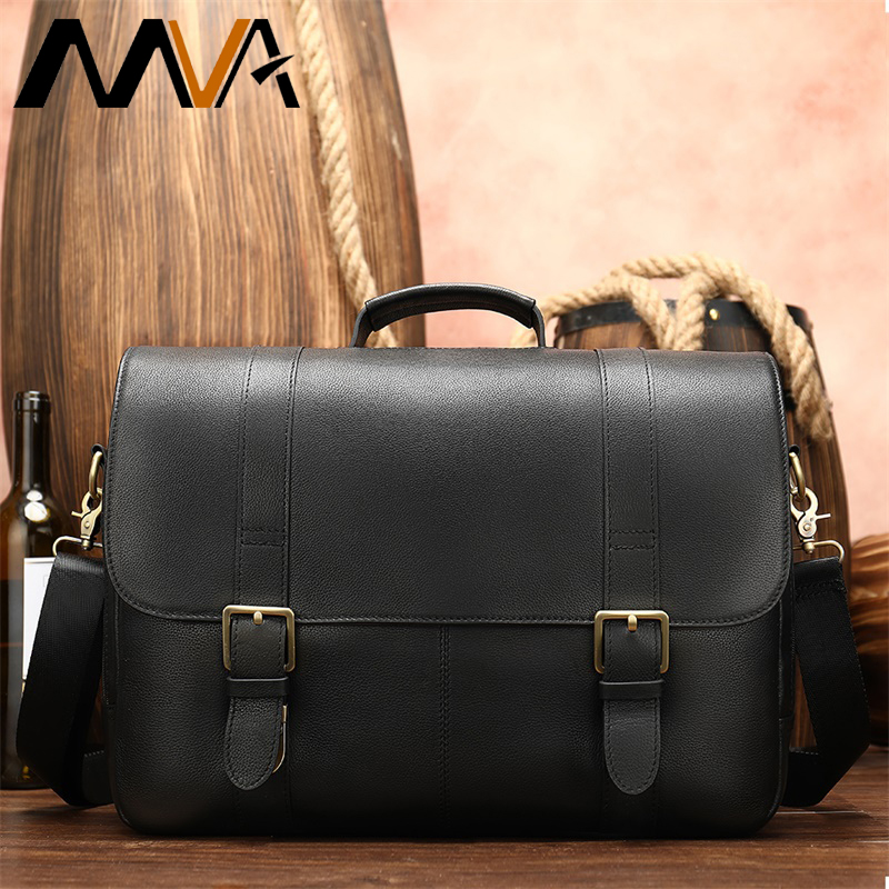 Men's Briefcase Man Business Genuine Leather Laptop Bag Black Leather Briefcases Men Messenger Bag For Men Briefcase Laptop 8580