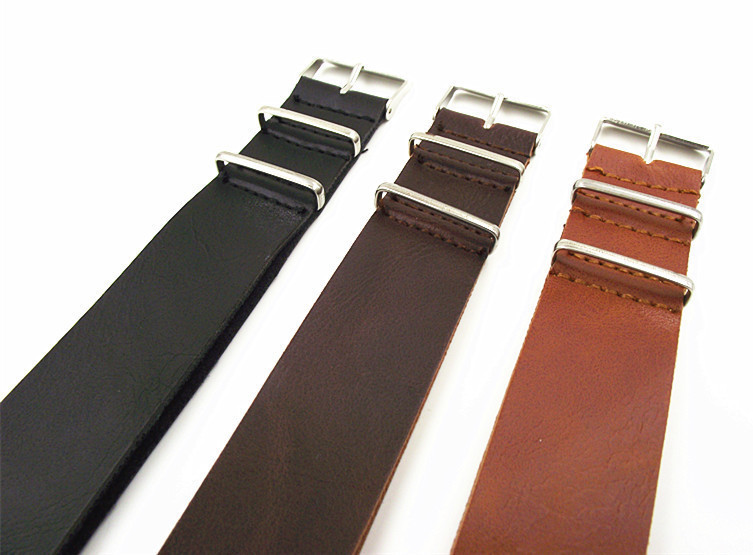 1PCS High quality 16MM 18MM 20MM 22MM 24MM PU leather nato straps Imitation leather Watch band watch strap 3color available high quality 18mm 20mm 22mm 24mm 26mm strap genuine leather watch band for nato straps silver black brown gray strap