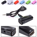 2017 New HDMI Female to VGA Female Video Converter Adapter + Audio Output Cable For PC HDTV PS3 Xbox 360