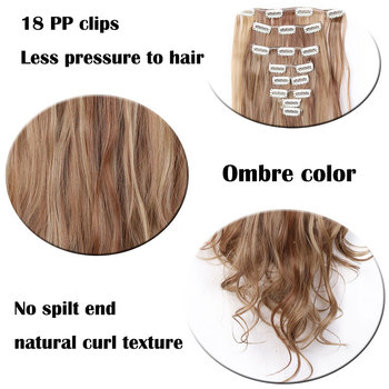 SNOILITE 24inch 8pcs/set Wavy 18 Clips in False Hair Styling Synthetic Hair Extensions Hairpiece Extension hair 3