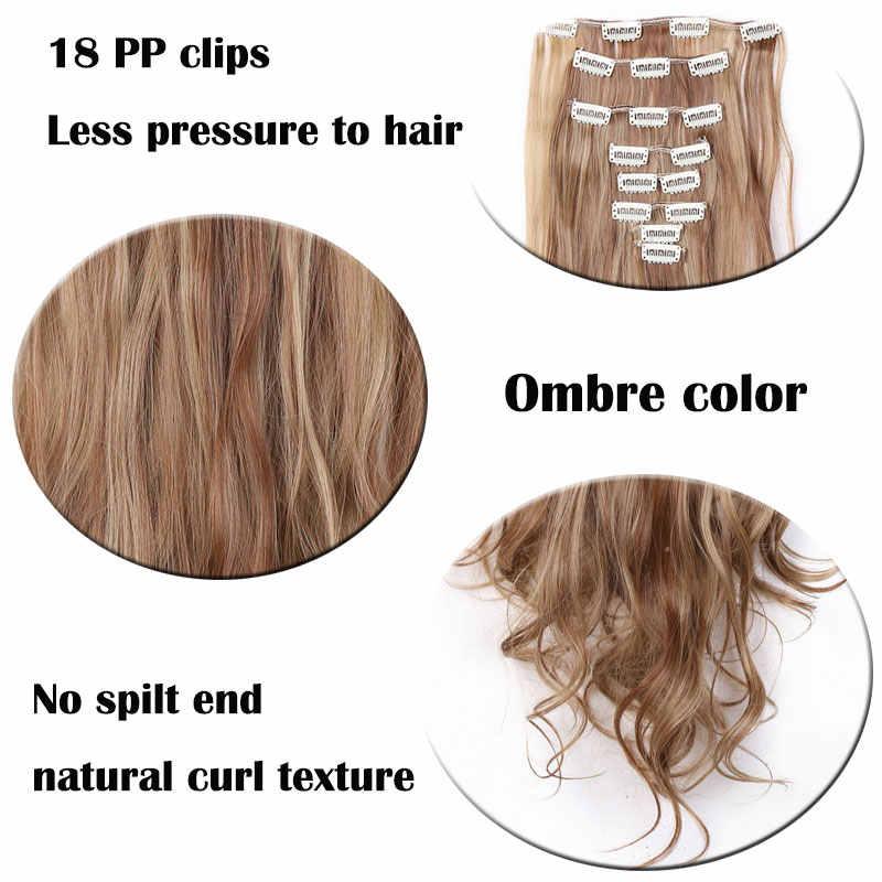 SNOILITE 24 אינץ 8 יח'\סט גלי 18 קליפים שווא עיצוב שיער סינטטי שיער הרחבות פאה הארכת שיער