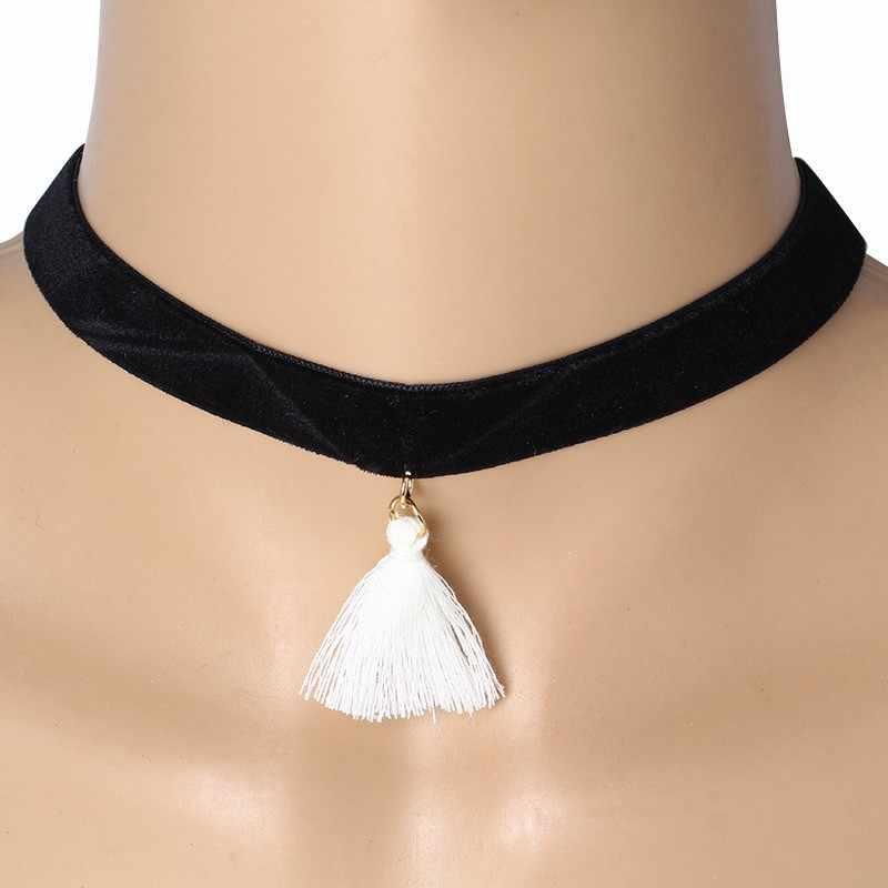 Nouveau collier ras du cou collier noir velours Chokers gland pendentif colliers fête bijoux cou accessoires Punk Style Chooker