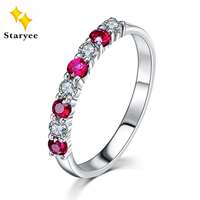 STARYEE Real 14K White Gold Women Engagement Rings Natural Diamonds Rubies Fine Jewelry 0 4Carat VS