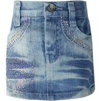 Girls Casual Crystal Pencil Mini Denim Skirts1 4Y Children Blue Washed Crystal Zipper Kids Girls Slim