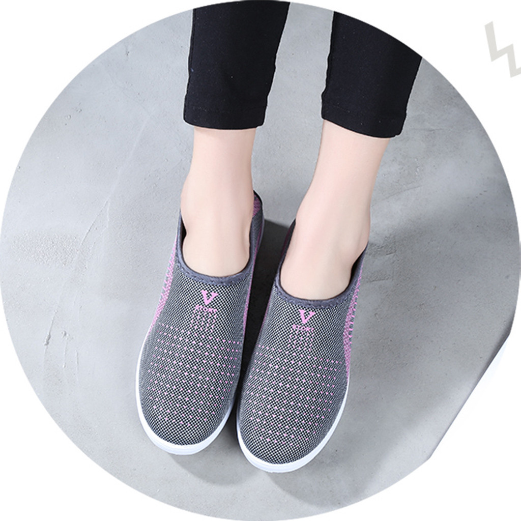 HTB1uEKQajnuK1RkSmFPq6AuzFXaR MUQGEW Women's Mesh Flat shoes patchwork slip on Cotton Casual shoes for woman Walking Stripe Sneakers Loafers Soft Shoes zapato