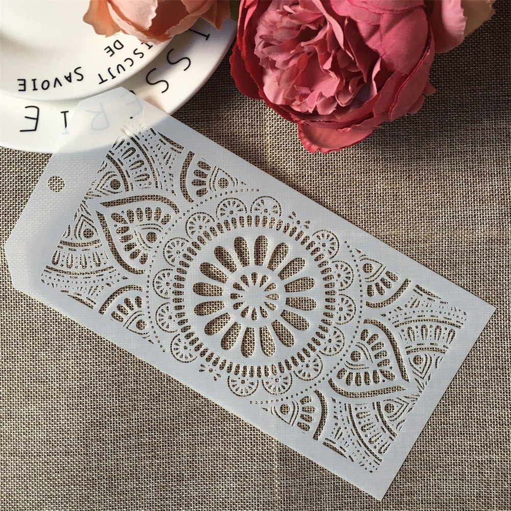 24*12cm Flower Round Circle Lotus DIY Layering Stencils Wall Painting Scrapbook Coloring Embossing Album Decorative Template