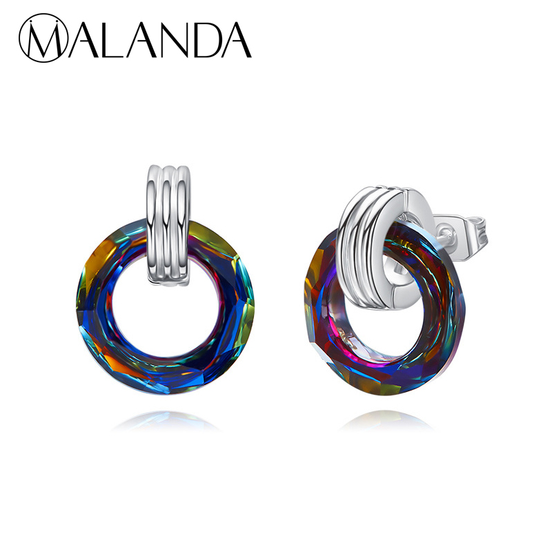 f44a3054d544 MALANDA cristales redondos originales de Swarovski pendientes de moda de  marca de moda para mujer ...