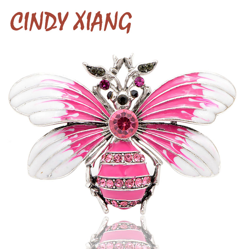 9bbe8894cbf82 CINDY XIANG Pink Color Enamel Bee Brooches for Women Cute Large Insect  Brooch Pin Spring New Design Butterfly Jewelry Good Gift
