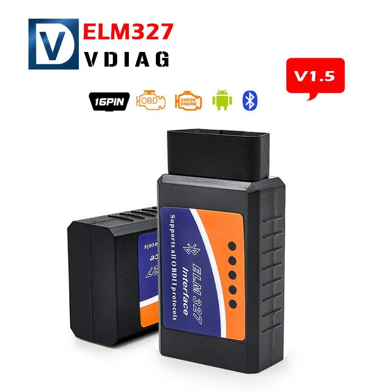 Prix pour Livraison gratuite elm327 Bluetooth obd2 version v1.5 ELM 327 obd 2 ELM327 BT obdii soutien smartphone et PC De Voiture de diagnostic câble