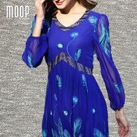 Тяжелая Бисероплетение перо вышивка натуральный шелк богемное платье синие длинные плиссированные Сарафан Большие размеры Vestidos Mujer халат