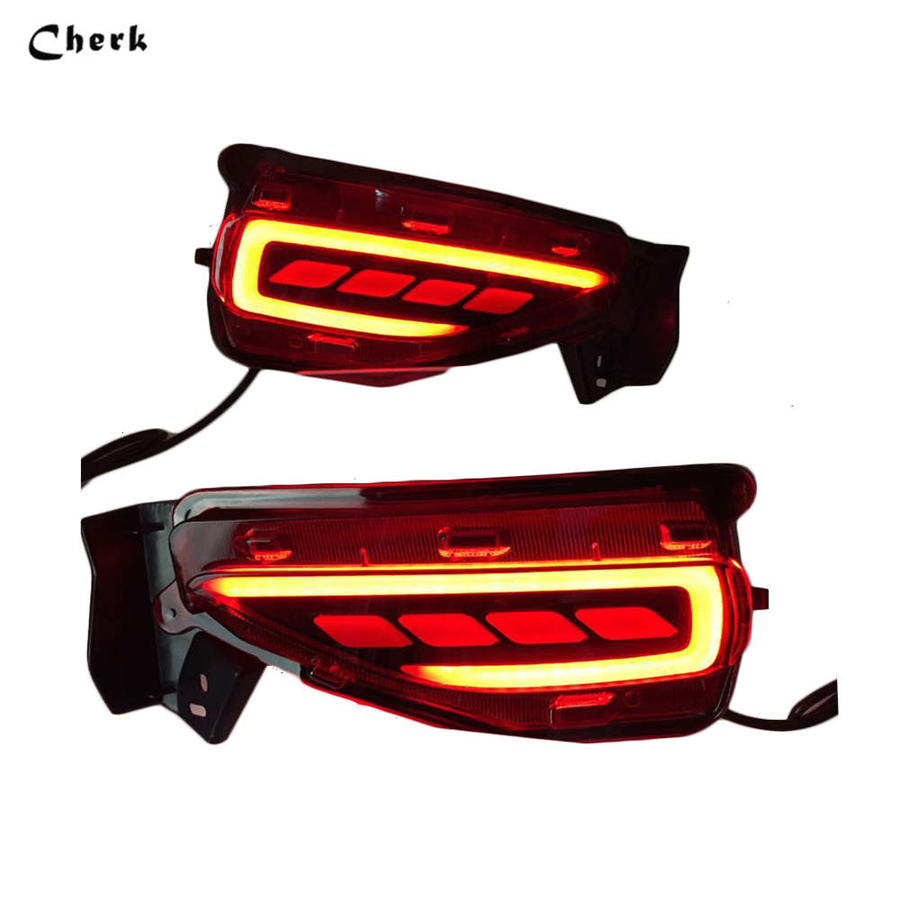 Rear Bumper Lamp For Toyota Fortuner 2015 2016 2017 Car LED Rear Brake Light Turn Signal Light Reflector Three Functions 2pcs new for toyota altis corolla 2014 led rear bumper light brake light reflector novel design top quality fast shipping