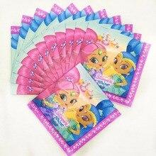 20pcs/lot Shimmer shine Party disposable Supplies Paper Napkin Cartoon Theme Favors Birthday Decoration