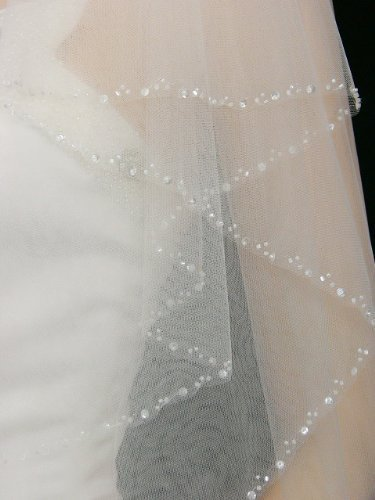 2T fingertip veil with beaded edge wedding veil with comb