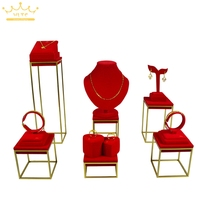 High Quality Stainless Steel Jewelry Earring display Necklace showcase Jewellery Display Rack stand holder Red Velvet