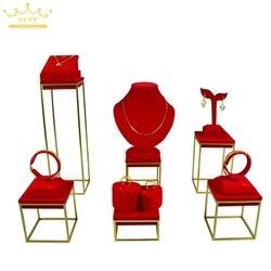 Hohe Qualität Edelstahl Schmuck Ohrring display Halskette schaufenster Schmuck Display Rack ständer halter Rot Samt