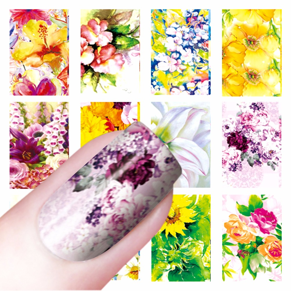 ZKO 1 Sheet Optional Flowers Watermark Nail Art Stickers Wraps Water Transfer Tips Decals Beauty Temporary Tattoos Tools ds300 2016 new water transfer stickers for nails beauty harajuku blue totem decoration nail wraps sticker fingernails decals