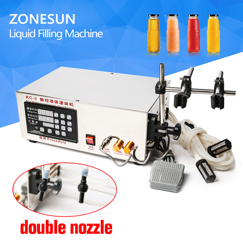 Semi-Automatic Double Heads Small Liquid Filling Machine Price Digital Control,3-3000ml GRIND double hopper stainless steel semi automatic food chemical particle filling machine