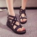 Moda sandalias Verano de las mujeres zapatos de La Mujer acuña las sandalias de plataforma de tacón alto mujeres suaves de la pu zapatos zapatos de tacón grueso N005 sanglaide