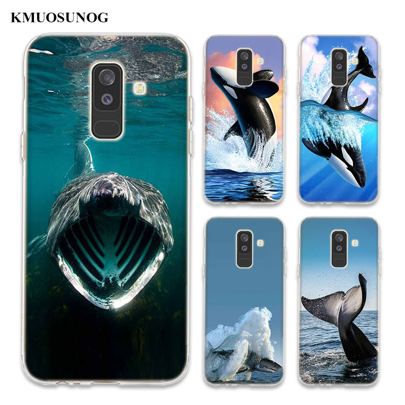 Transparent Soft Silicone Phone Case Thriller whale sharks For Samsung Galaxy A6 A6+ A8 Star A8+ A7 A5 A3 Plus 2018 2016 image