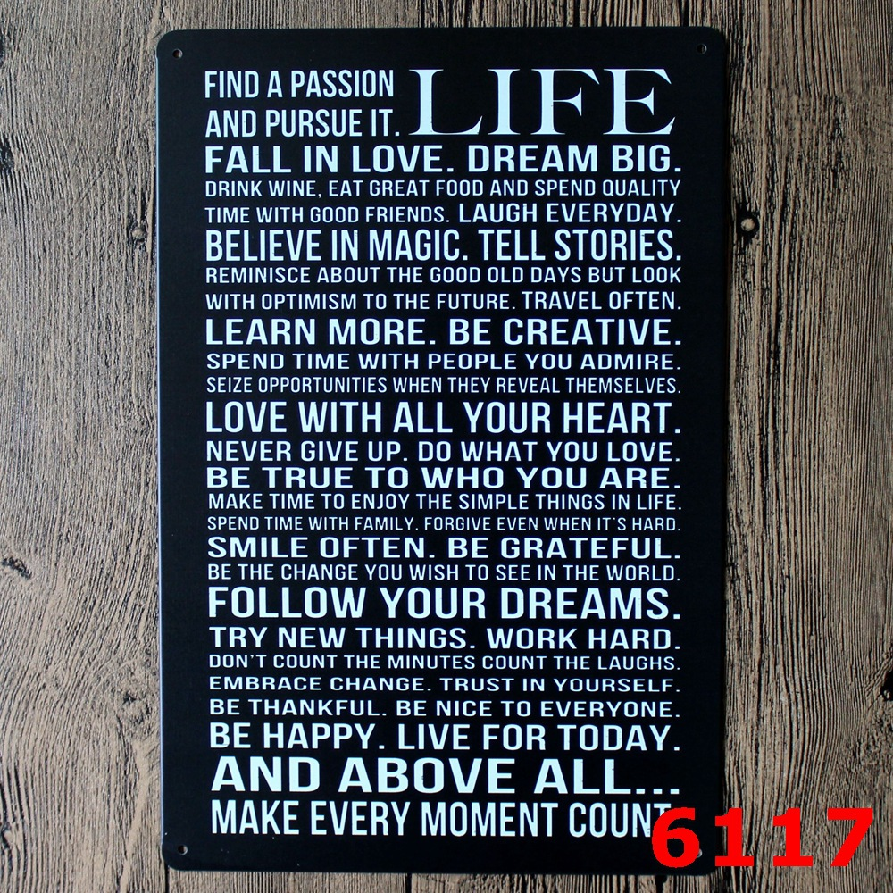 20x30cm quotes life retro metal tin signs home decorative vintage Iron painting for bar ktv  wall hanging  sticker