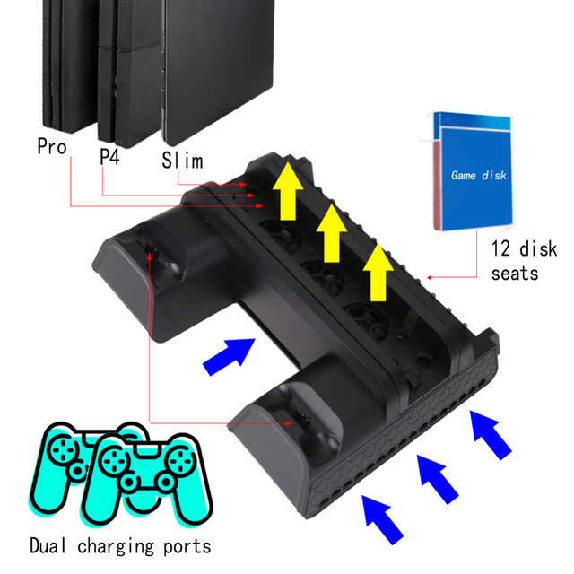 New Game Controller Charging Dock Station with Cooling Fan Gamepad Joystick Charger for PS4 Slim and PS4 Pro console