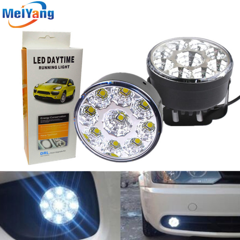 1pair Waterproof led drl daytime running light Fog Lamp White 9 LED SMD day Lamps car led bulbs Car Light Source parking 1 pair metal shell eagle eye hawkeye 6 led car white drl daytime running light driving fog daylight day safety lamp waterproof
