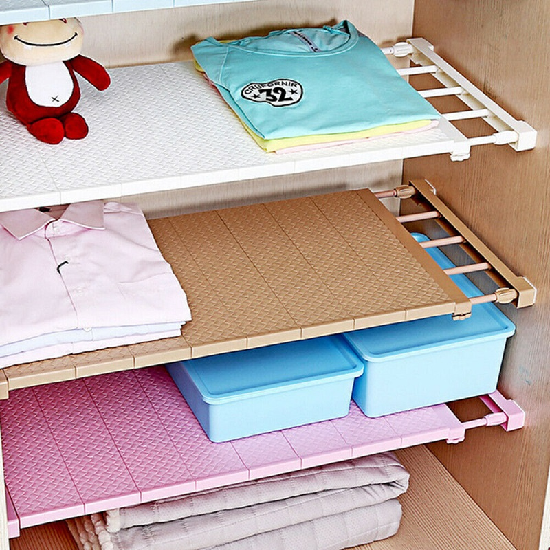 Adjustable Closet Organizer Storage Shelf Wall Mounted Kitchen Rack Space Saving