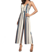Women Summer Spaghetti Strap Striped Long Pants Sleeveless Jumpsuits Bandage Sexy V Neck Rompers