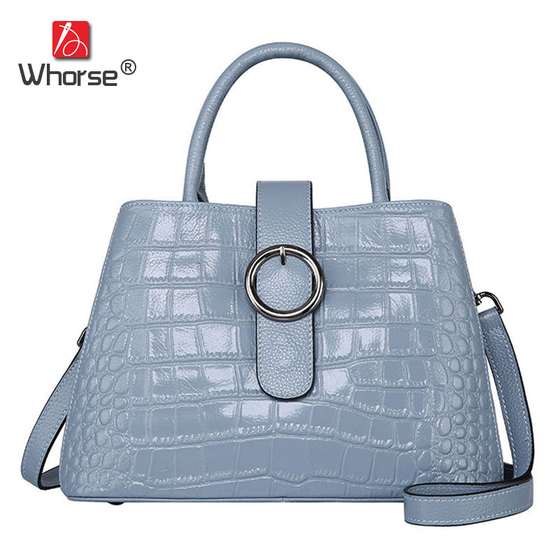 [WHORSE] Brand Luxury Crocodile Pattern Genuine Leather Handbag Women Cowhide Handbags Messenger Bags With Ring W08450 [whorse] brand luxury fashion designer genuine leather bucket bag women real cowhide handbag messenger bags casual tote w07190