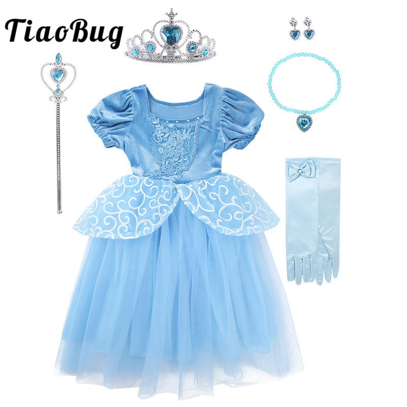 <font><b>TiaoBug</b></font> Kids Girls Fairy Tale Princess Costumes Fancy <font><b>Dress</b></font> Crown Tiara Wand Set Children Birthday Party Halloween Roleplay Gown image