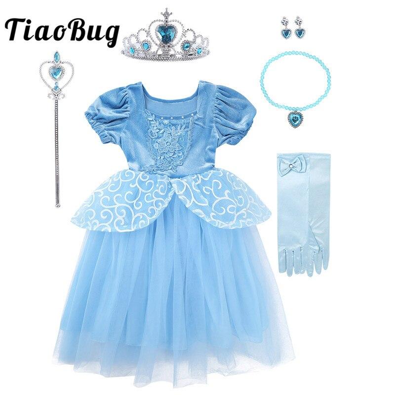 TiaoBug Kids Girls Fairy Tale Princess Costumes Fancy Dress Crown Tiara Wand Set Children Birthday Party Halloween Roleplay Gown
