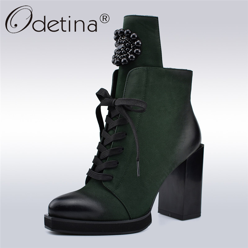 Odetina Autumn Winter New Fashion Lady Ankle Boots Metal Decoration Crystal Square High Heels 10cm Side Zip Lace Up Women BootsOdetina Autumn Winter New Fashion Lady Ankle Boots Metal Decoration Crystal Square High Heels 10cm Side Zip Lace Up Women Boots