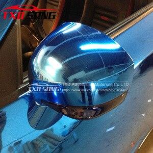 Image 2 - high stretchable light blue Chrome Air Bubble Free Mirror Vinyl Wrap Film Sticker Sheet emblem Car Bike Motor Body Cover