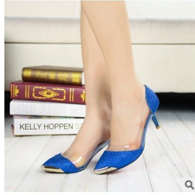 Ladies low -margin big size(4-12) sexy elegant sweet Med-high heeled glitter pointed toe shoes in spring autumn summer 5colors
