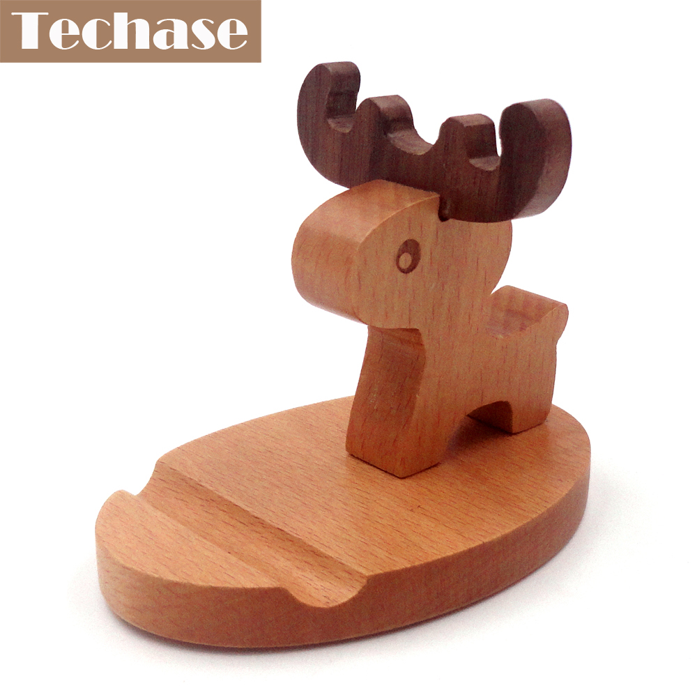 Techase Phone Holder Wood Suporte Celular Deer Telefon Tutucu For iPhone 8 Suporte Celular Carro Christmas Gifts For iPhone X ...