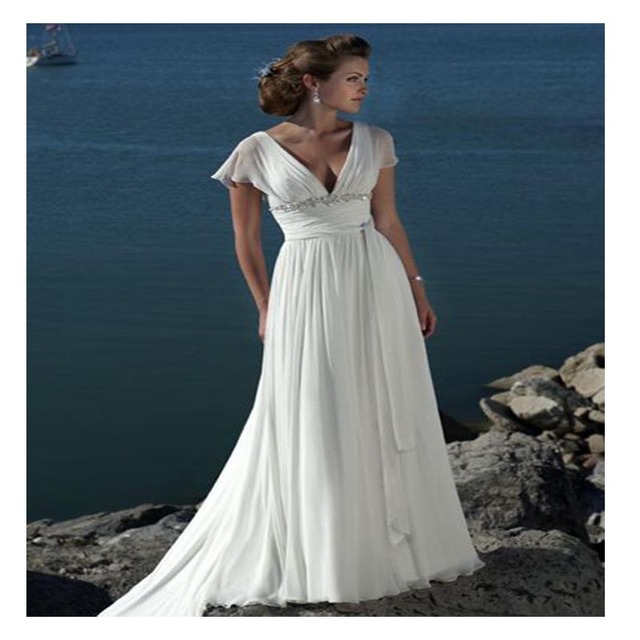 Lorie Short Sleeves Beach Wedding Dress 2019 V Neck A Line Backless