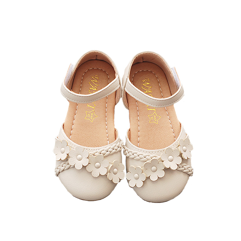 Bekamille Kids Sandals For Girl Princess Summer Leather Shoes Fashion Flower Single Shoes Flat With Toddler Sandals Dance Shoes
