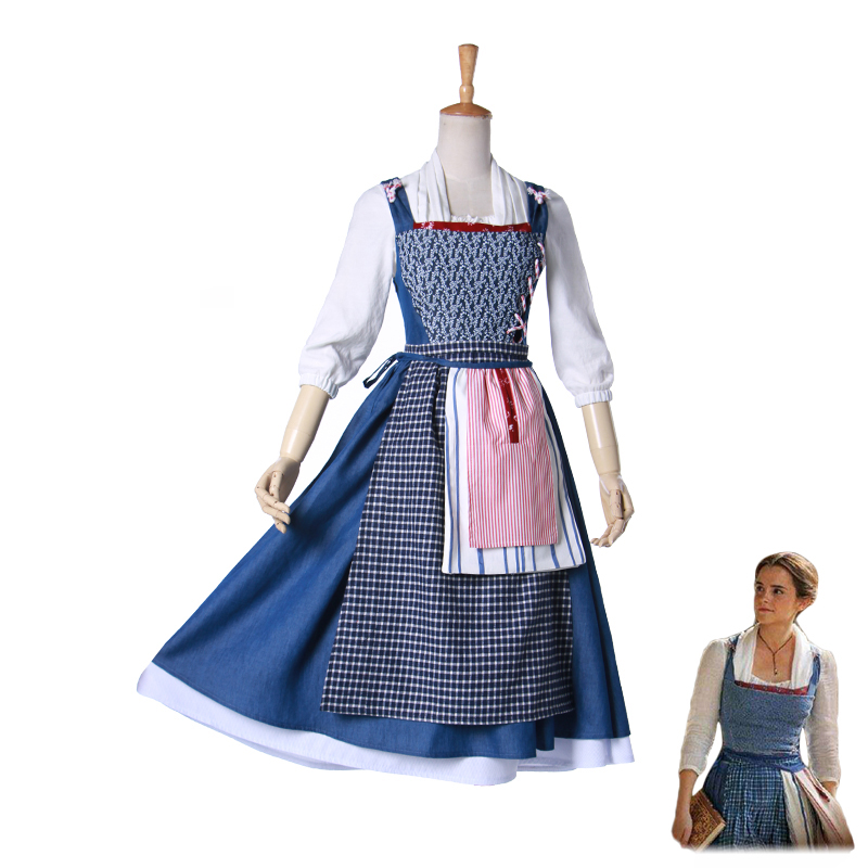 Movie Customize full set of Beauty And The Beast Princess Belle  Cosplay Costume Women Dress Outfit Halloween Party