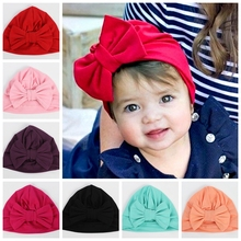 Yundfly Cotton Blend Hair Bow Knot Kids Turban Hat Big Ear Newborn Beanie Caps Headwraps Birthday Gift Photo Props