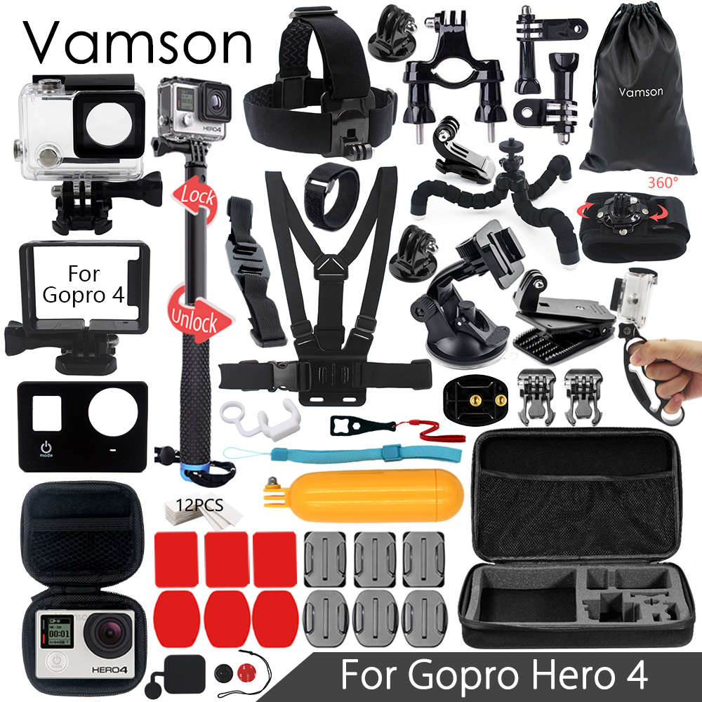 Vamson for Gopro Hero 4 Accessories Set Head Strap Chest Strap Monopod Mini Boxfor Go pro hero 4 Action Camera VS07 набор аксессуаров для gopro hero от vamson vs19 с поплавком ремнями и штативами