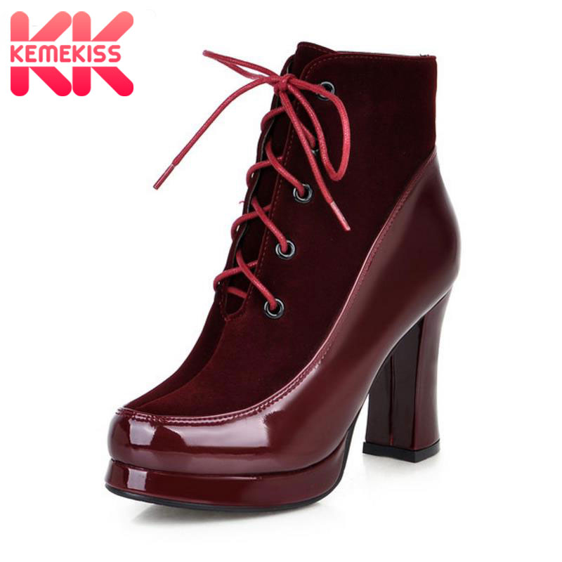 KemeKiss Size 34-43 Sexy Women Half Short Boots Lace Up Platform High Heel Boots Warm Shoes Winter Short Botas Women Footwears women sexy high heel ankle boots with lock lace up patent leather boots autumn short boots wedding shoes women botas size 36 46