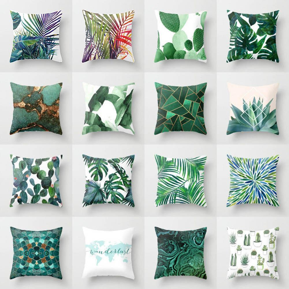 Plant Cushion Cover Tropic Tree Green Throw Pillow Cover Palm Leaf