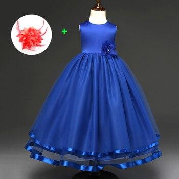 a204a519a Niña vestido de fiesta nuevo 2019 niños Vestidos Fiesta Vestidos azul flor  Junior fiesta Noche vestidos