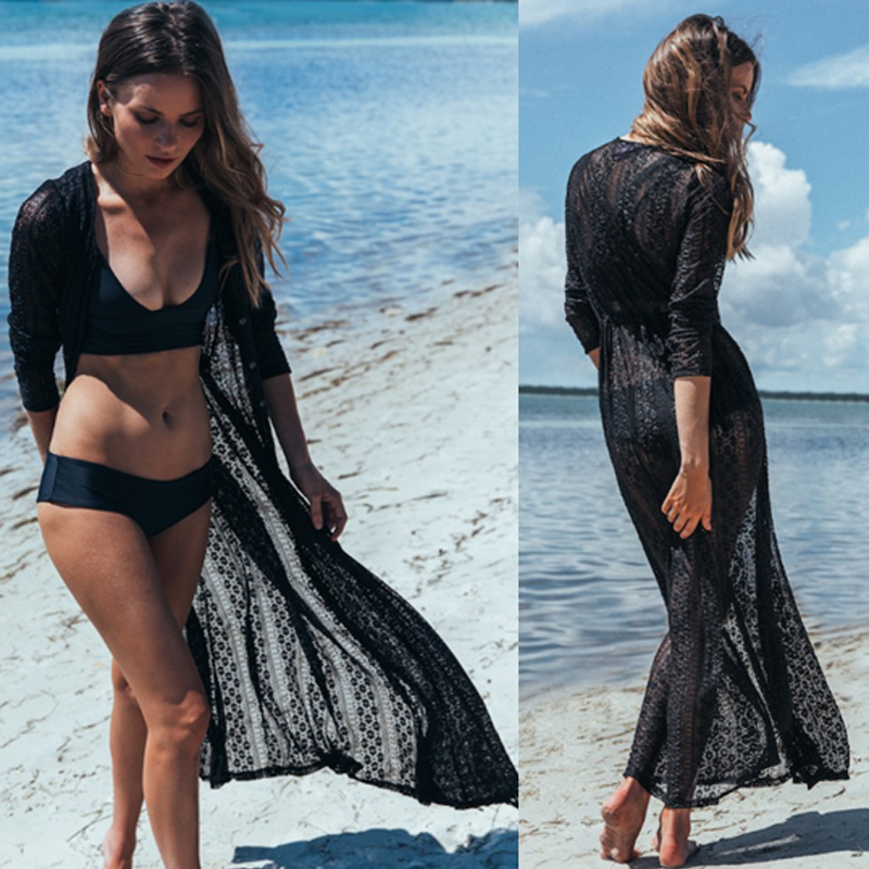 2019 Sexy Pareo Beach Cover Up Women Beachwear Swimwear Hollow Bikini Beachwear Cover Up Lady Summer Sunproof Dress Bathing Suit in Cover Ups from Sports Entertainment