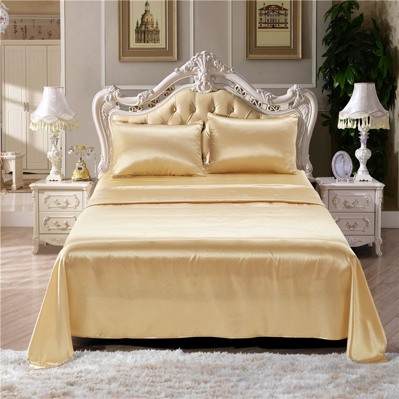 Gold High-Grade Solid Color Imitation Silk Bed Bedding Set Soft And Smooth 3/4Pcs Bed Sheet Pillowcase Sheet Fitted Sets kingGold High-Grade Solid Color Imitation Silk Bed Bedding Set Soft And Smooth 3/4Pcs Bed Sheet Pillowcase Sheet Fitted Sets king