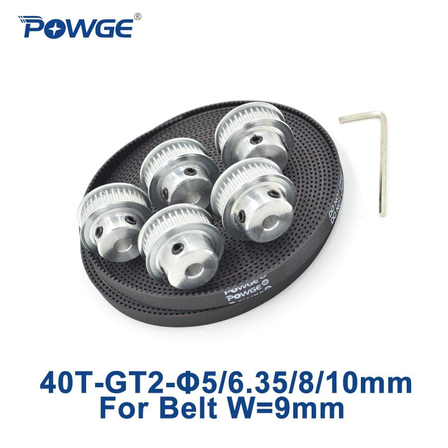 POWGE 5pcs 40 teeth GT2 Timing Pulley Bore 5mm 6.35mm 8mm 10mm + 5Meters width 9mm GT2 open Timing Belt 2GT pulley 40T 40Teeth