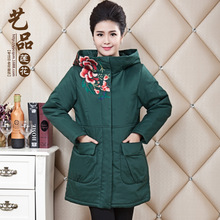 Middle-aged and old high quality large yards long in cotton embroidered National wind cotton-padded jacket