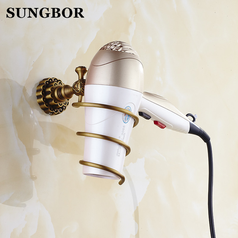 Bathroom Fixtures Black Copper Hair Rack Novelty Flower Shape Households Rack Hair Blow Dryer Holder Wall Hang Fa-80804 Bathroom Hardware