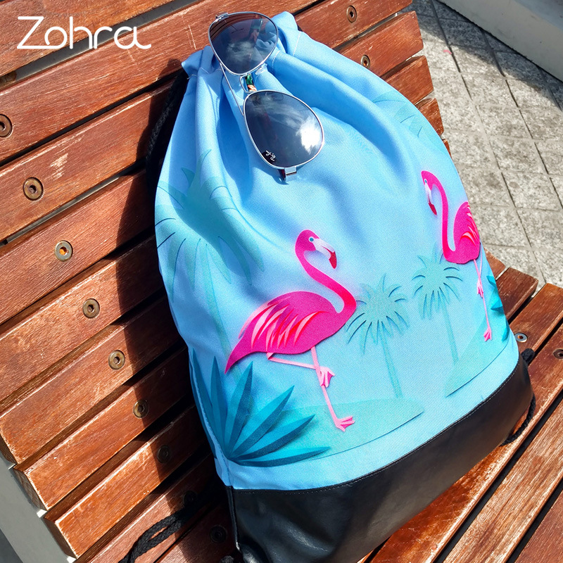3D Printed flamingo pattern Drawstring Storage Bags Shoulder Bags Women Hamburg Backpacks Travel storage organizer Shoes Bags in Storage Bags from Home Garden