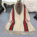 Новая зимняя мода большой бренд Европейский Американский ТБ бахромой плащ платки пальто хит цвет полосатый кисточкой женский вязать кардиган свитер